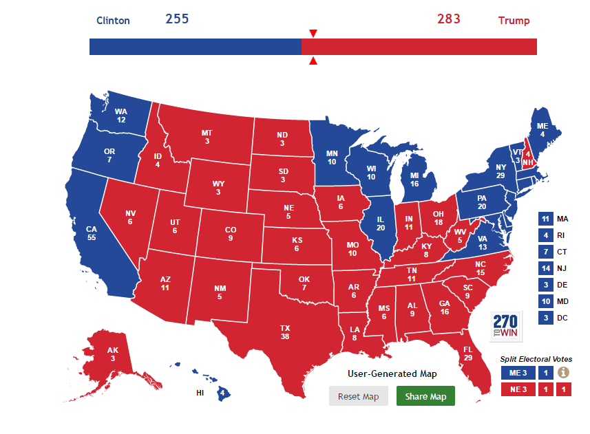 This is what the electoral college would look like if the election were held today. (via 270towin.com)