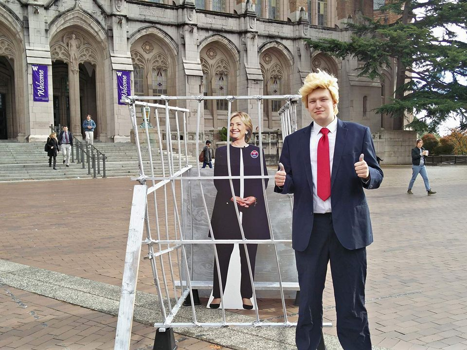 Chevy Swanson of UW College Republicans dressed as Donald Trump.