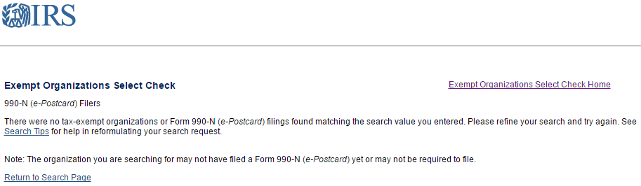 Finally, from the IRS itself- no organization named Stonegait has filed a 990 form.