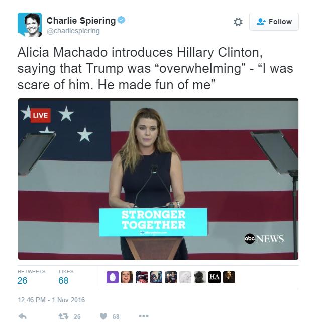 Alicia Machado campaigns with Hillary Clinton in Florida on November 1, 2016.