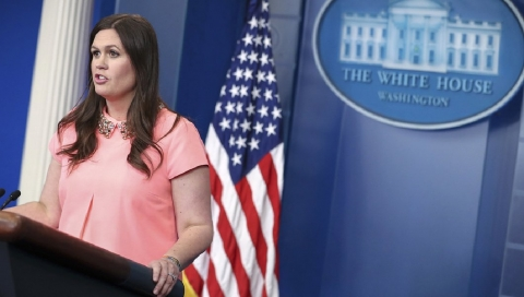White House deputy press secretary Sarah Huckabee Sanders said Trump isn't bothered by reports that it may take months for the Senate to vote on healthcare. (AP Photo/Andrew Harnik)